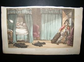 Dr Syntax by Rowlandson 1817 Hand Col Satire Print. Robb'd of his Property